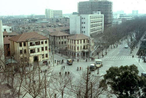 View of Shanghai buildings in the 1980s