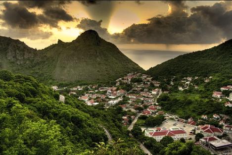 Saba's inactive volcano, Dutch Caribbean